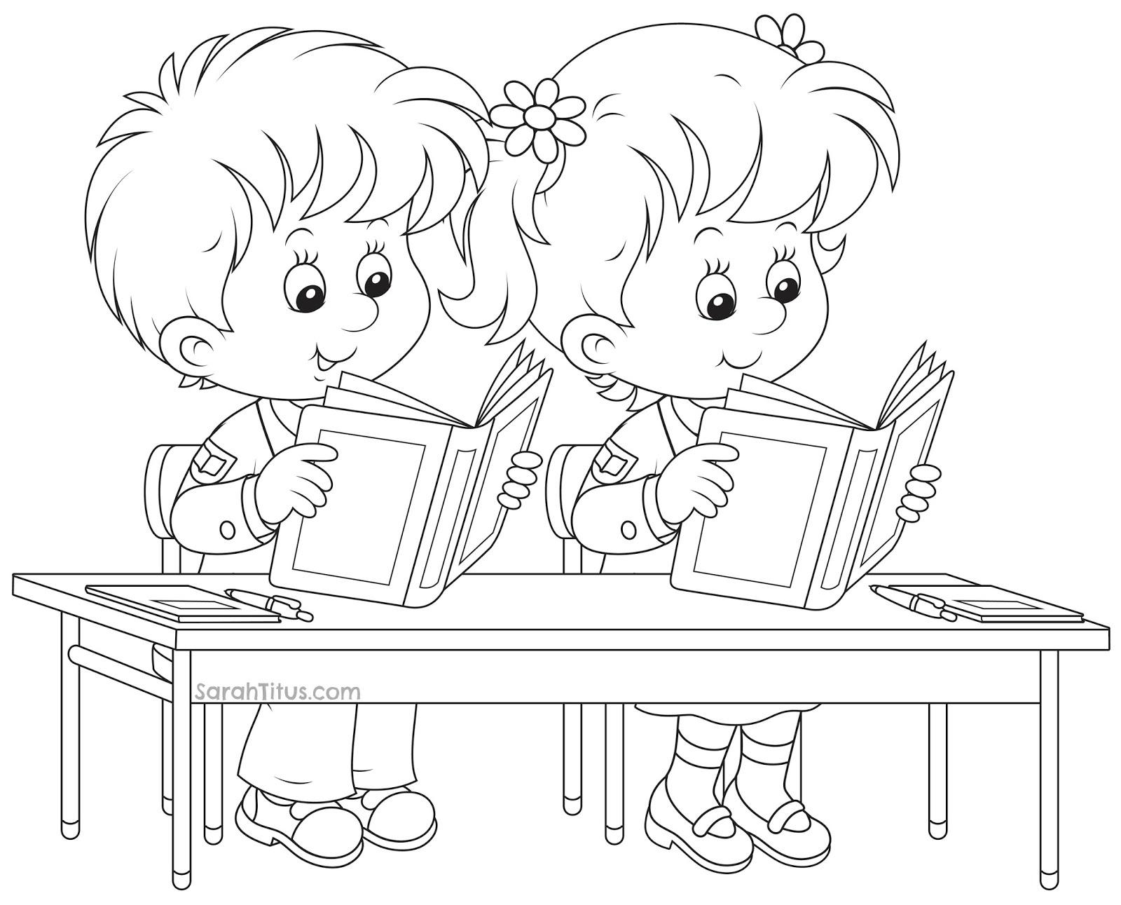 Sketsa Gambar Anak Belajar