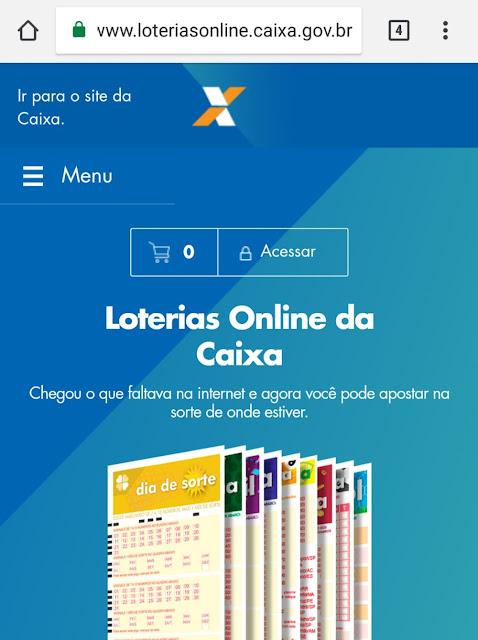 Loterias Online da Caixa (Imagem: Reprodução/CEF)