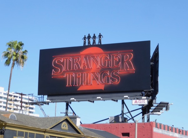 Stranger Things 2 neon sign billboard daytime