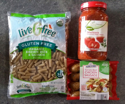 Ingredients from Aldi for Organic Gluten Free Pasta with Marinara and Basil Chicken Sausage