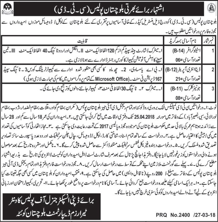 Jobs In Counter Terrorism Department CTD Balochistan Police March 2018