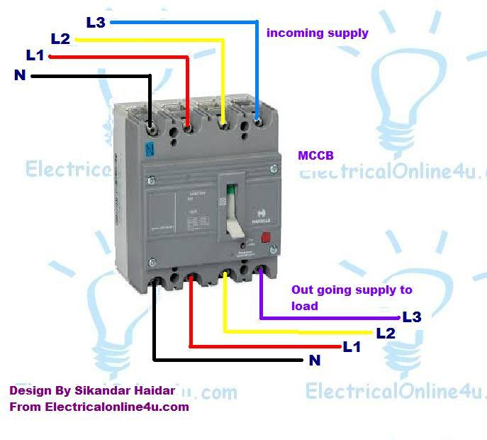 3 Pole  4 Pole MCCB Wiring Diagrams and Installation