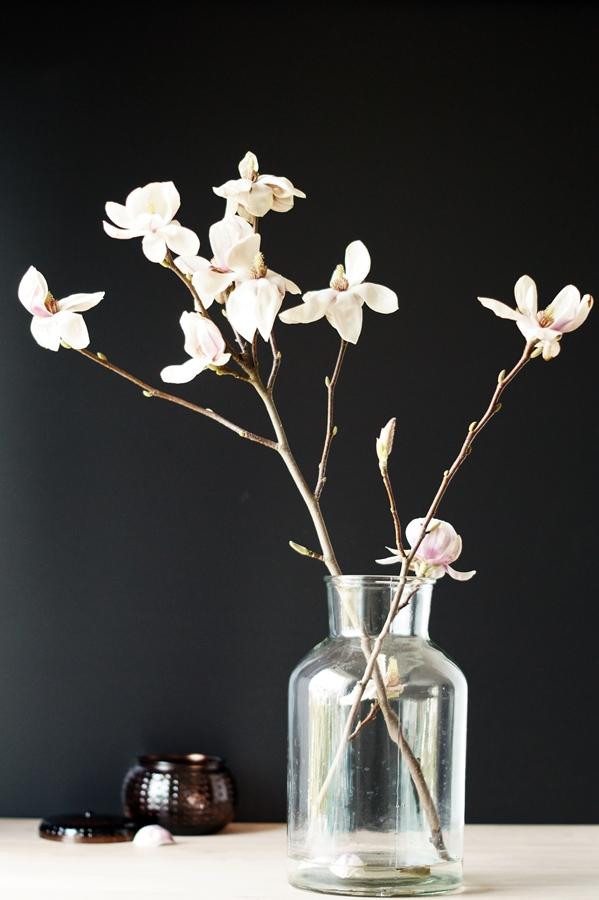 Magnolienzweig mit Deko in einer schlichten Vase