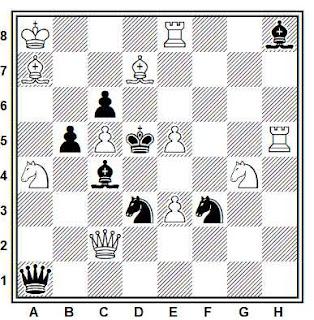 Problema de mate en 2 compuesto por Karl A. K. Larsen (1° Premio, Schackvärlden 1929)