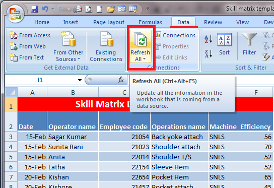 Excel tips pivot table data refresh also how to develop skill matrix with template online clothing rh onlineclothingstudy