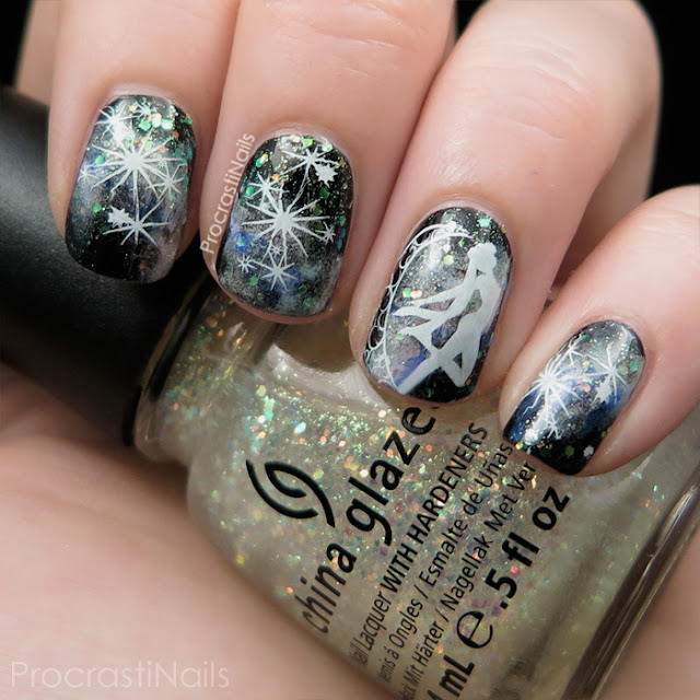 Galaxy Mani with Sailor Moon Stamped Nail Art
