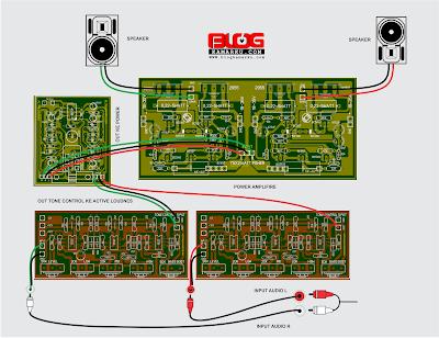 Cara merangkai Power amplifier dengan Active loudnes dan tone control