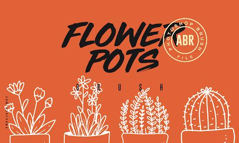 Free Download 10 Flower Pots Photoshop Brush - ABR File