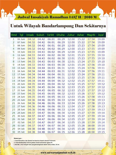 Jadwal Imsakiyah Bandar Lampung 2016 M 1437 H