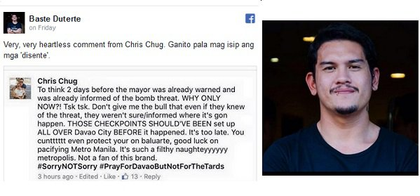 Baste Duterte Lashed Out After Insensitive Facebook Comment on Davao Night Market Bombing!