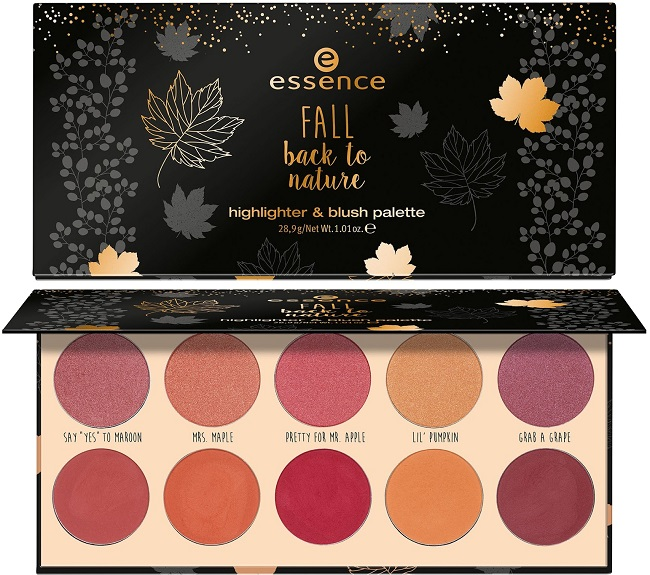 ESSENCE -  fall back to nature {Octubre 2018} - Paleta de Iluminadores y Coloretes