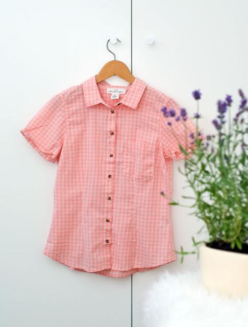 różowa koszula w kratkę wyprzedaż w hm