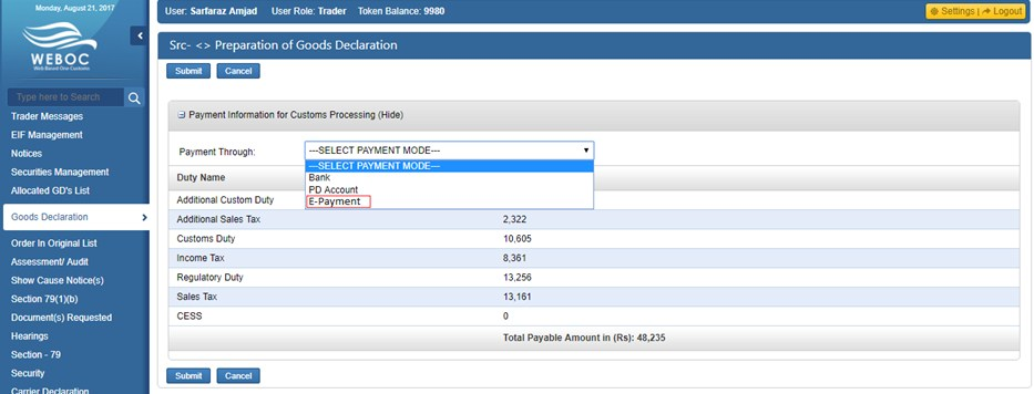WeBoc-E-Payment-GD Payment-Mode-Selection-Page