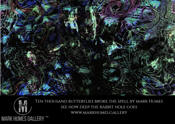 """Ten thousand butterflies broke the spell "" is digital abstract art created by Mark Humes using a color palette of black, white, blue, cyan and purple depicting a man breaking free of chains surrounded by abstracted butterflies and broken and twisted occult symbols and scripts."