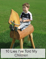 Boy on wooden horse outside, with title text overlayed