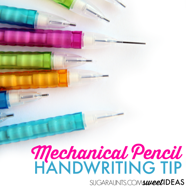 Use a mechanical pencil to help kids who write too dark or too lightly on the paper.
