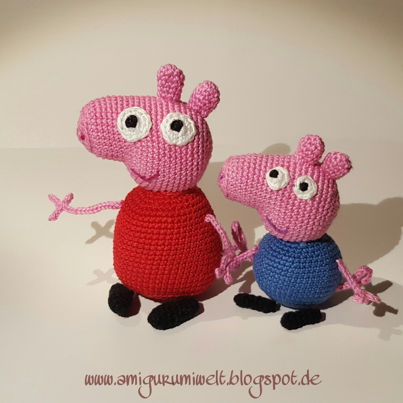 Peppa Pig & George Pig Soft Toys Crochet, from TatieSoftToys | 1398x1398
