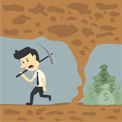 A cartoon man with a pick axe walks away from the mine having missed  reaching the money goal
