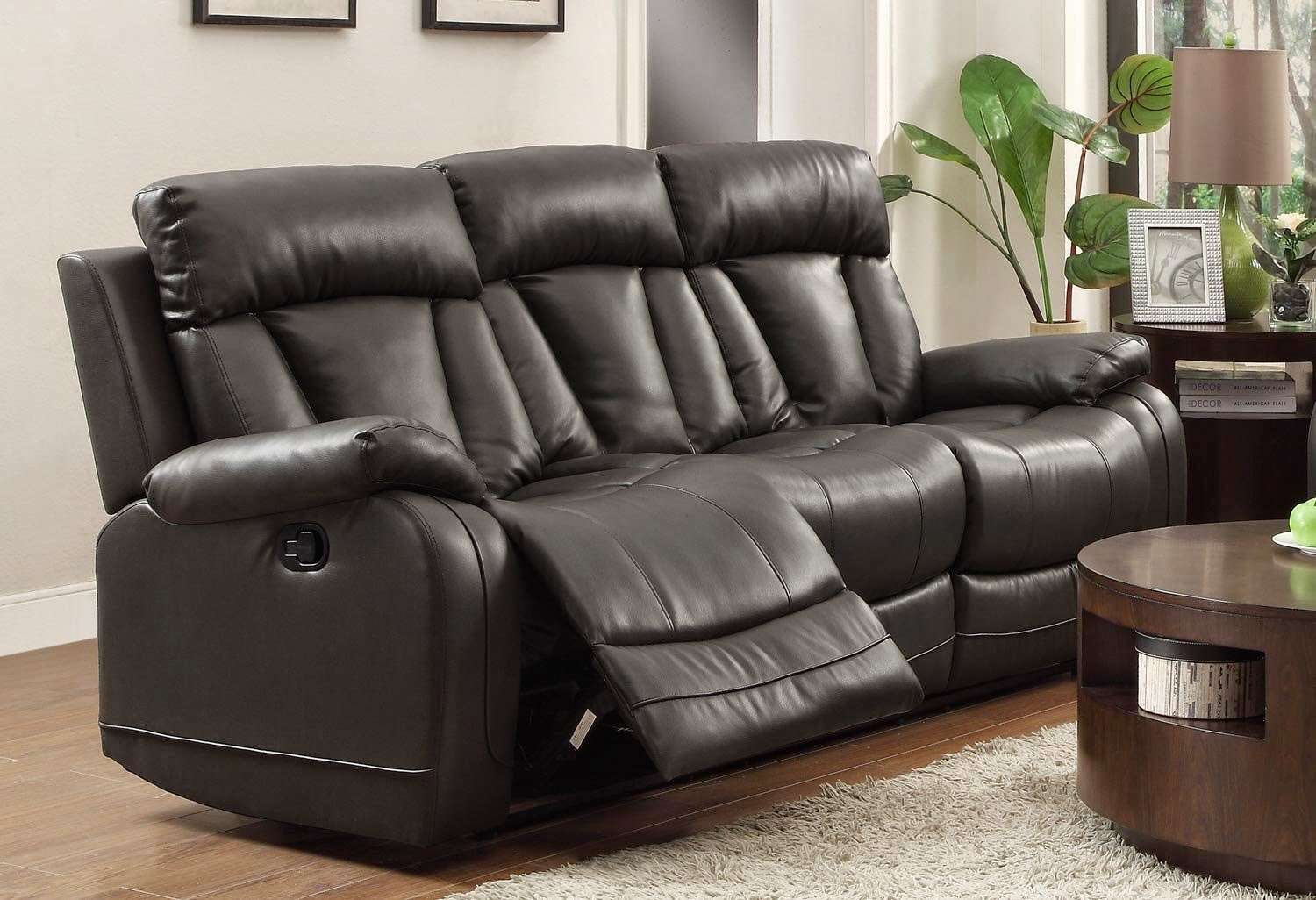 Homelegance Black Alpha Leather Dual Reclining Sofa
