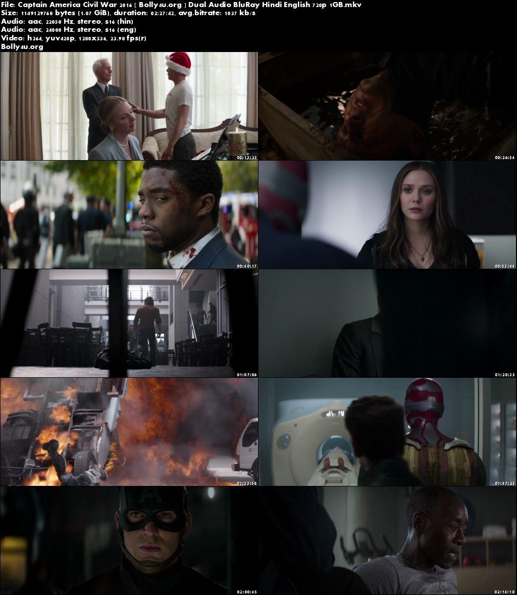 Captain America Civil War 2016 BRRip 1GB Hindi Dual Audio 720p Download