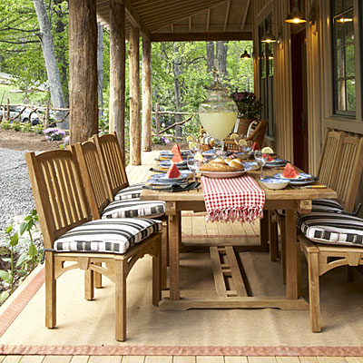 This farmhouse style family dining table is perfect for an outdoor meal with your family