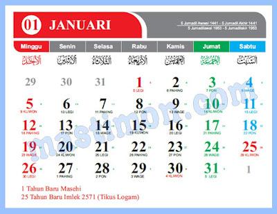 Kalender 2020 Jawa dan Hijriyah