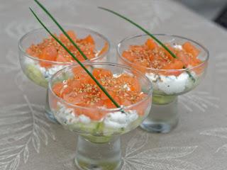 Verrines saumon fumé et mascarpone citronnée