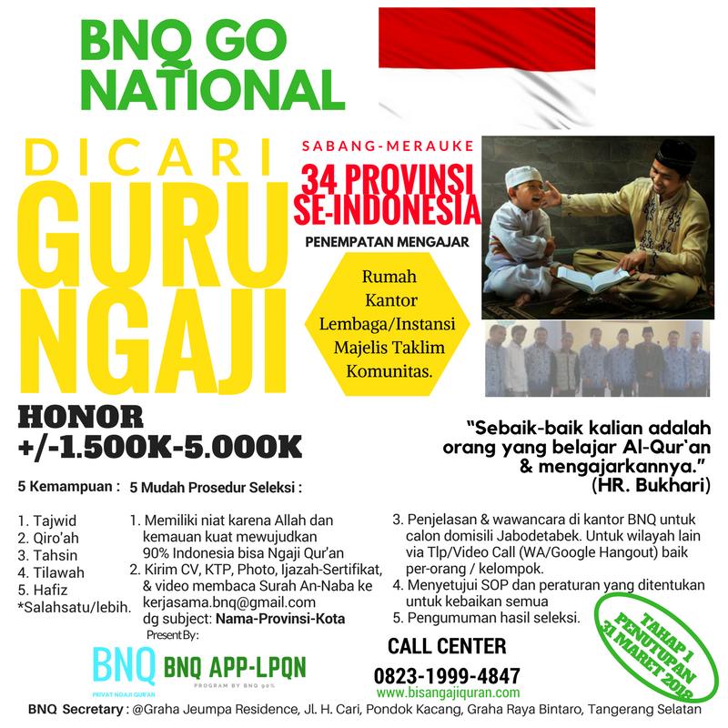 Dibuka Lowongan Guru Ngaji Palembang Sumatera Selatan Bisa Ngaji Quran Bnq 90