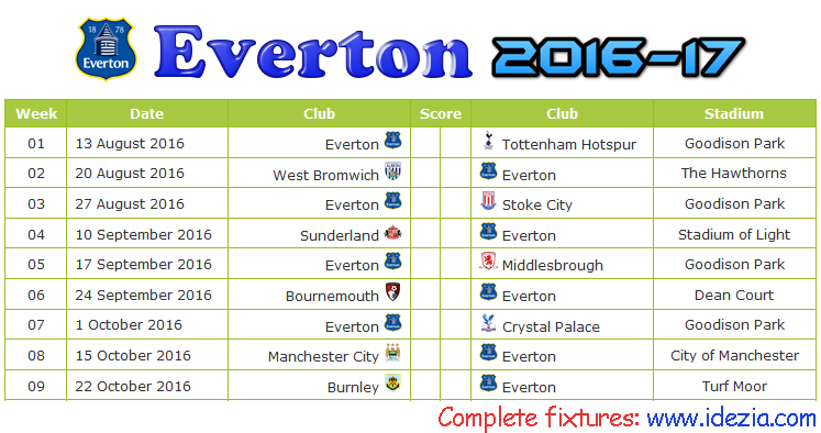 Download Jadwal Everton FC 2016-2017 File JPG - Download Kalender Lengkap Pertandingan Everton FC 2016-2017 File JPG - Download Everton FC Schedule Full Fixture File JPG - Schedule with Score Coloumn