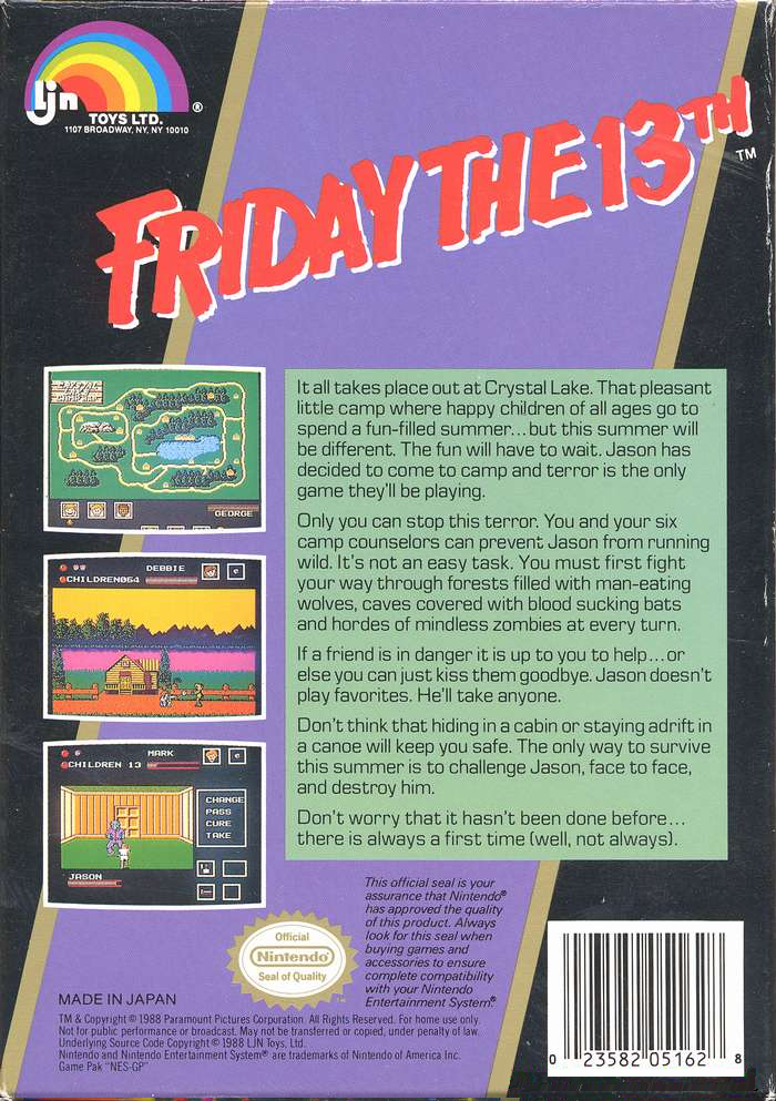 8-Bit City: Friday the 13th NES Box Scans