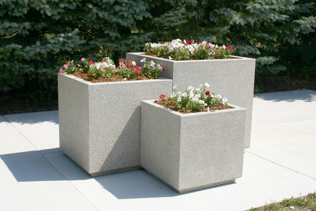 Square Concrete Planter Doty Andsons Concrete Products Inc Concrete Planters