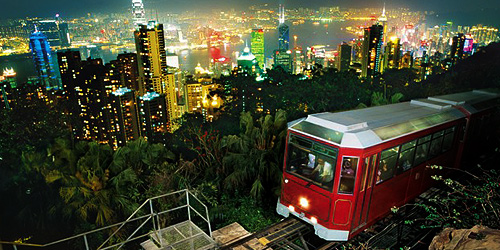View from The Peak Tram at night Hong Kong