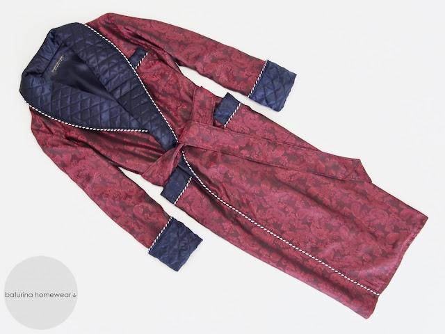 mens burgundy silk dressing gown navy blue quilted shawl collar paisley luxury gentleman robe lightweight