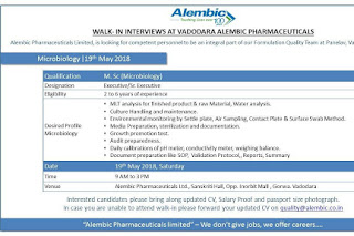 Alembic Pharmaceuticals  Walk In Interviews For Microbiology,   At 19 May