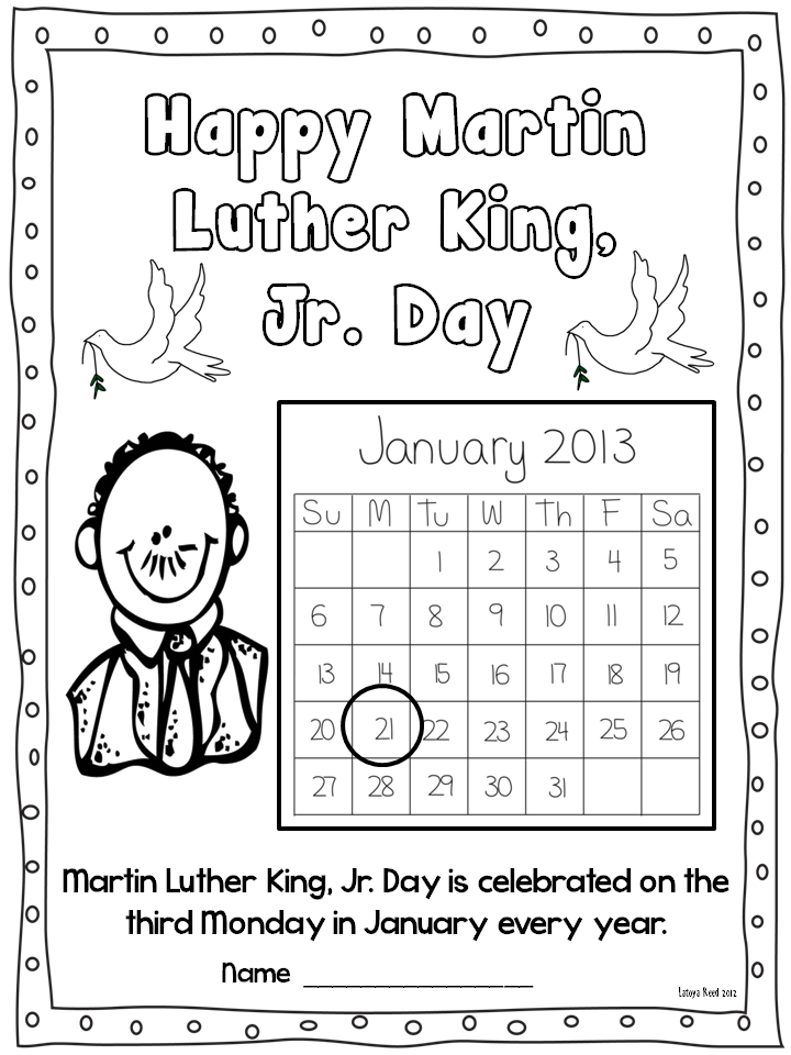Martin Luther King Jr Freebies Flying Into First Grade
