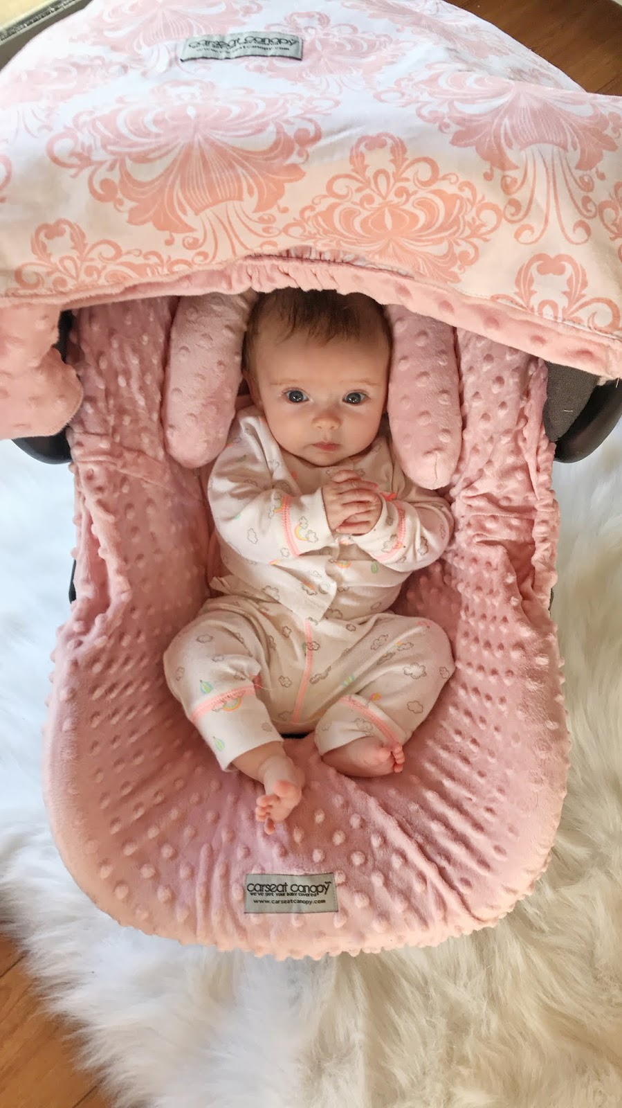 pink car seat canopy
