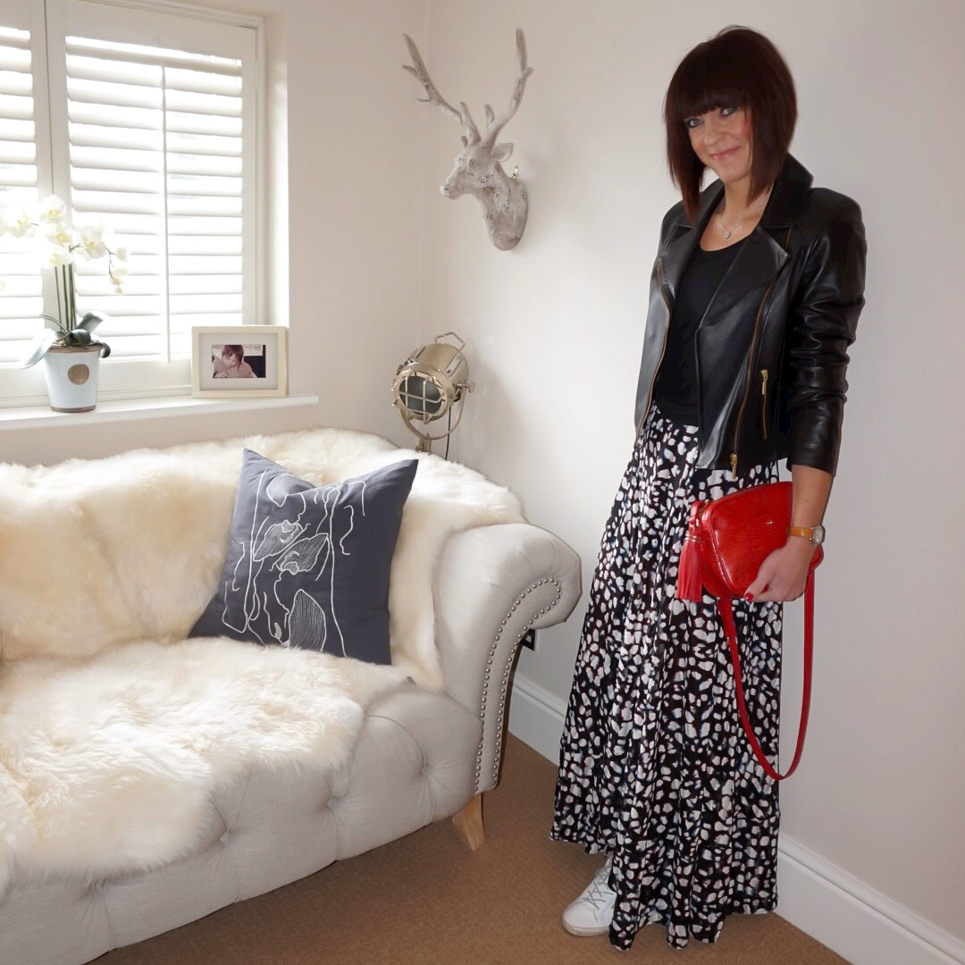 My midlife fashion, baukjen everyday leather biker jacket, uterque mock croc cross body bag, golden goose superstar low top leather trainers, splendid scoop neck batwing sleeve top, religion maxi skirt in animal print