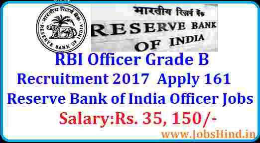 RBI Grade B Recruitment 2017