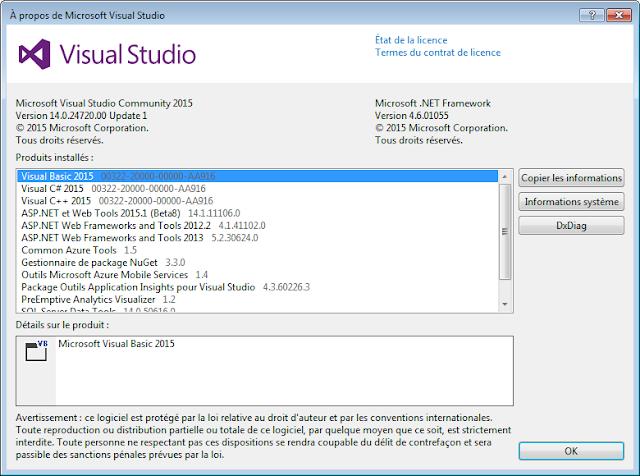 Aide->A propos de Microsoft Visual Studio