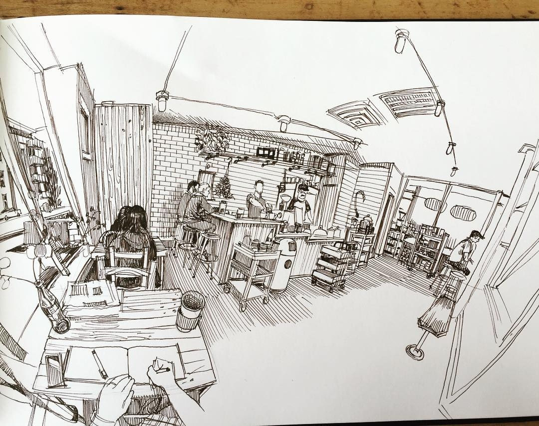 03-Coffee-Shop-Paul-Heaston-Urban-Sketcher-Inserts-Himself-in-the-Drawing-www-designstack-co