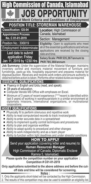 Jobs Vacancies In High Commission Of Canada Islamabad 07 January 2019