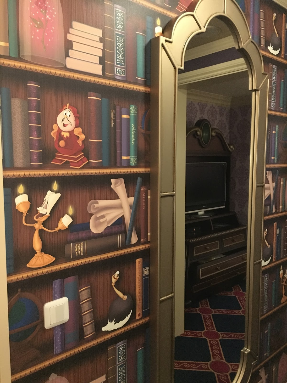 The Books On Wallpaper Also Feature Titles Featuring Some Familiar Disney Classics