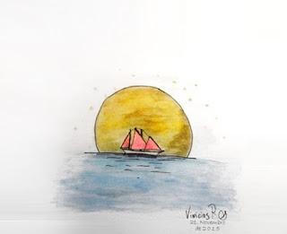 Desenho de barco a vela em alto-mar, sob sol escaldante.