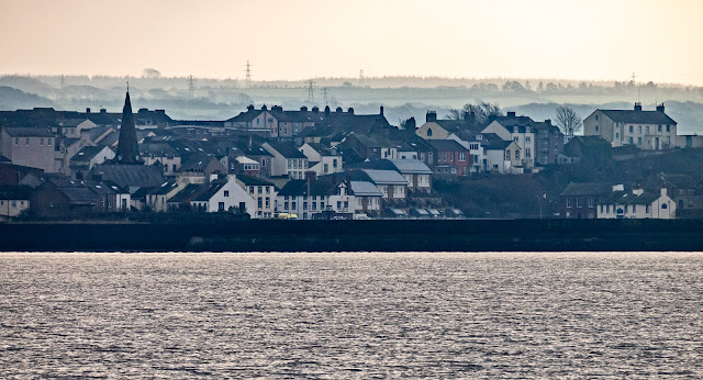 Photo of Maryport from the Solway Firth looking across north pier