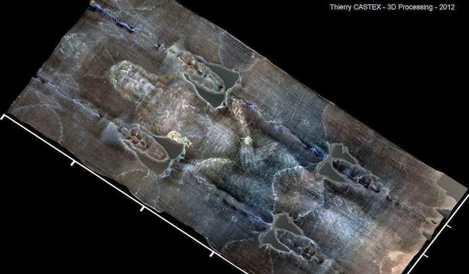Santo Sudário, foto frontal tridimensional processada pelo engenheiro geofísico Thierry Castex.