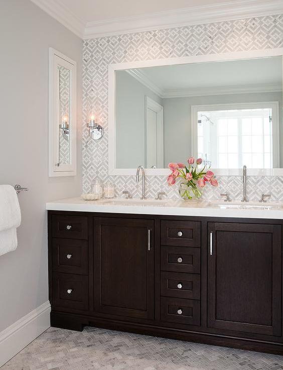 patterned tile above vanity