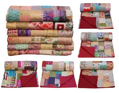 Silk Patola Patchwork Kantha Bedspread Silk Kantha Blanket