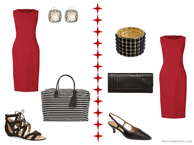 How to wear a red dress with black and white accessories, or black woven accessories