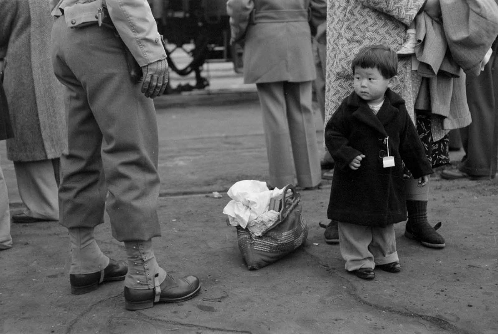 A child looks at a soldier as he assembles for evacuation with his family.