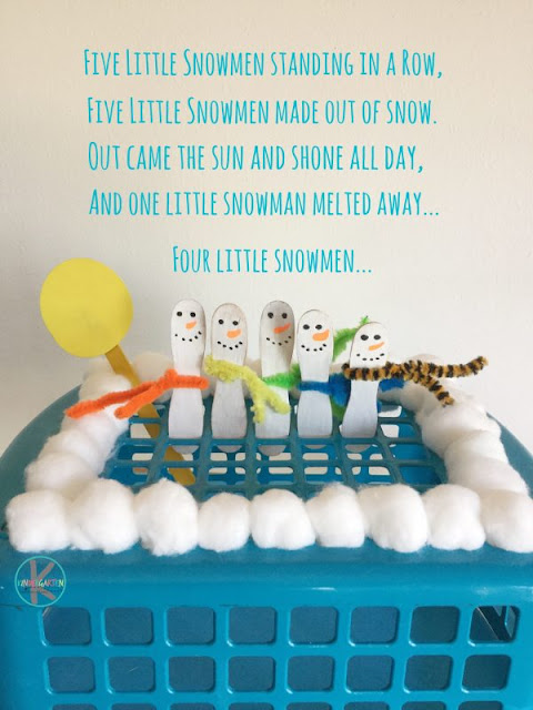 five little snowman kindergarten activity